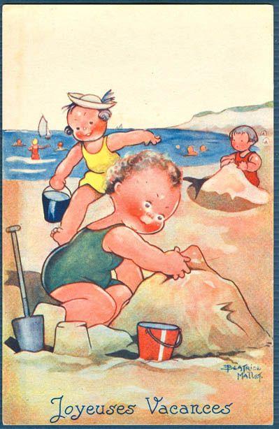 Children On The Beach 'Joyeuses Vacances' (French) | signed Beatrice MalletBeach Scene, Beach Joyeuse, 236363, Artbeatr Mallet, Art Wat, Seaside Illustration, Beatrice Mallet Artists, Art Children, Mallet Illustration