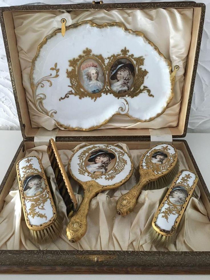 Limoges France Jugendstil Kosmetik Set mit Porträt´s im Stil Sevres Dresden 1900