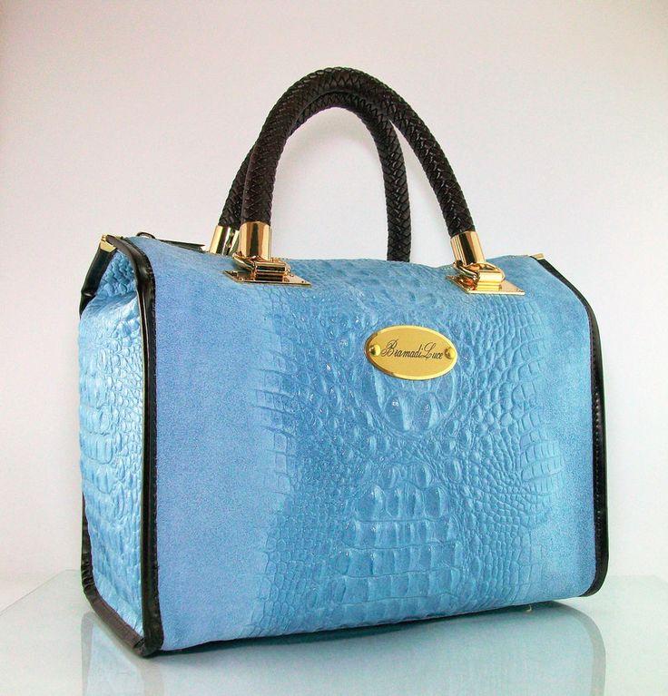 Borsa bauletto BramadiLuce artigianale in pelle azzurro 30x20x17cm