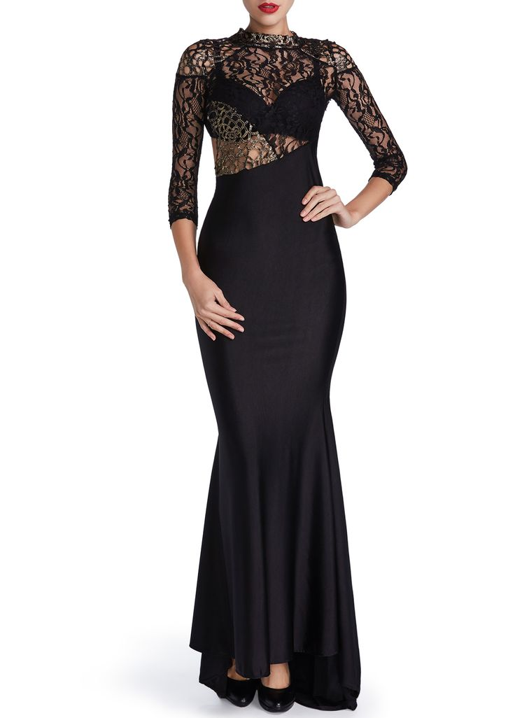 Lace Panel Backless Black Mermaid Maxi Dress on sale only US$27.79 now, buy cheap Lace Panel Backless Black Mermaid Maxi Dress at lulugal.com