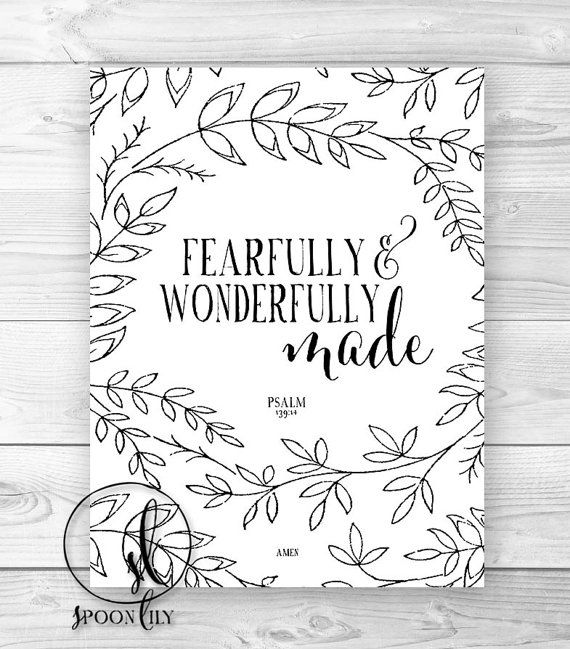 Nursery Bible Verse Art Print, Scripture Art, Christian Wall Decor, Inspirational Wall Art, Fearfully and Wonderfully Made Psalm 139:14
