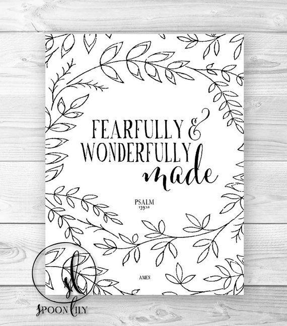 Nursery Bible Verse Art Print, Scripture Art, Christian Wall Decor, Inspirational Wall Art, Fearfully and Wonderfully Made Psalm 139:14 on Etsy, $15.00