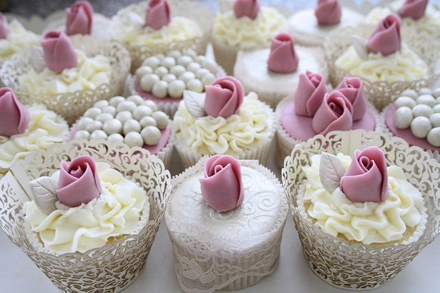 Dusky rose cupcakes by Cotton and Crumbs, via Flickr