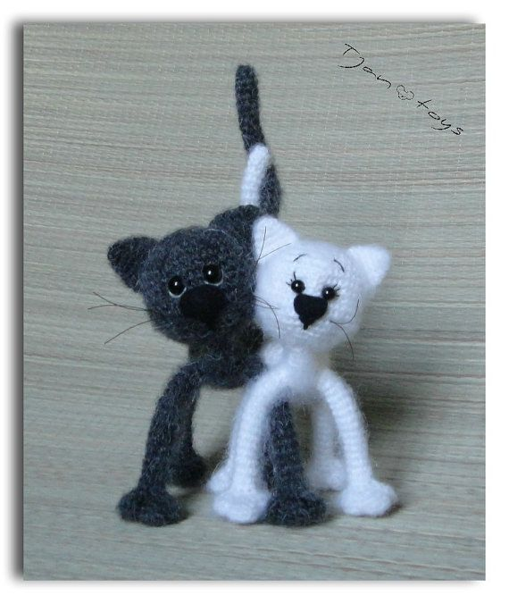 Cats in love Black and White OOAK Stuffed Animals Crochet by Tjan