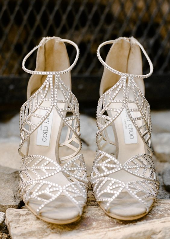 Classy silver jewel studded wedding shoes; Featured Photographer: Rebecca Yale Portraits