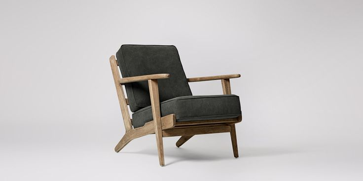 Swoon Editions Armchair, mid century style in Charcoal - £399