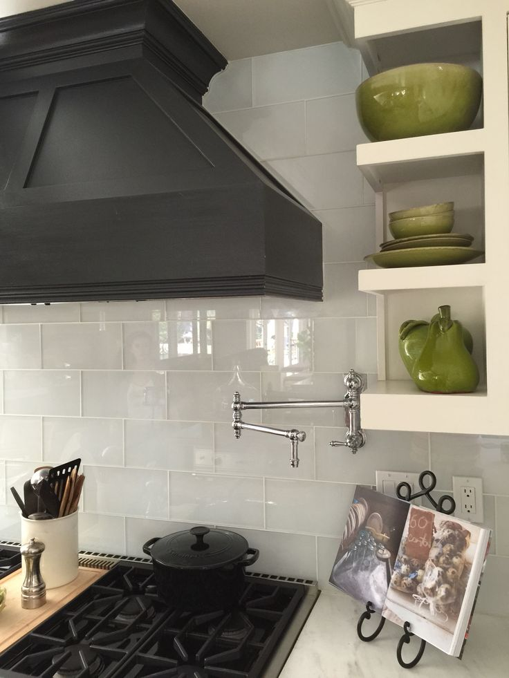 Graphite And Pure White Annie Sloan Chalk Paint On Cabinets With Glass  Oversized Subways, We
