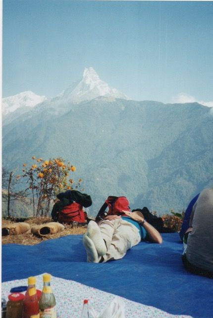 Annapurna Trek Nepal Machu Puchare in background Happier times The Nepalese people are so kind and hospitable The land is so beautiful but unforgiving Please donate to organizations like the America Nepal Medical Foundation or the SEVA Foundation