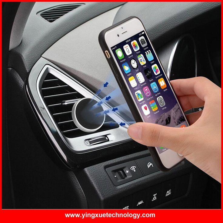 Car Mount Magnetic Car Air Vent Car Mount Phone Holder with Silver Metal Edge for iPhone 6 Plus, 6, Samsung Note 5, Galaxy S6