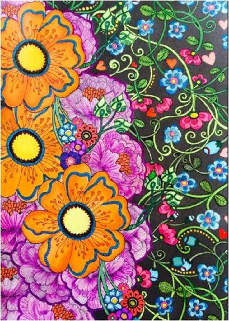 Adults Coloring Book Garden Flowers Design Relax Stress Relief Fun Patterns