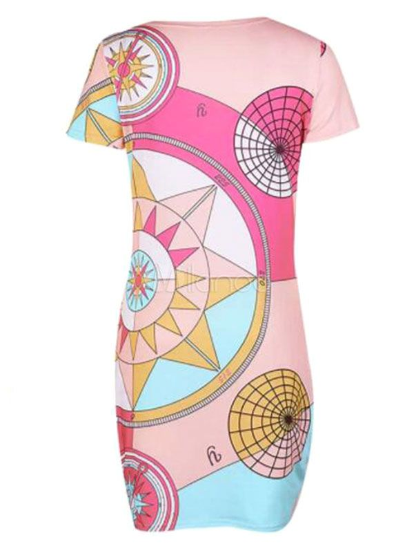 Bodycon Dresses Geometric Print Short Sleeves Body Conscious Dress #Sponsored #G…