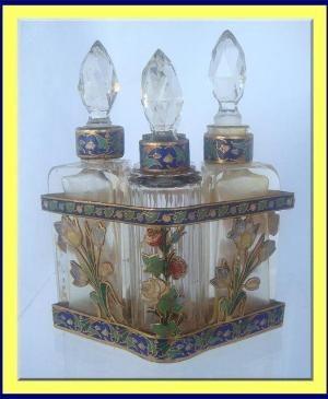 ANTIQUE FRENCH ENAMEL CUT GLASS PERFUME BOTTLE SET 1900 by lori