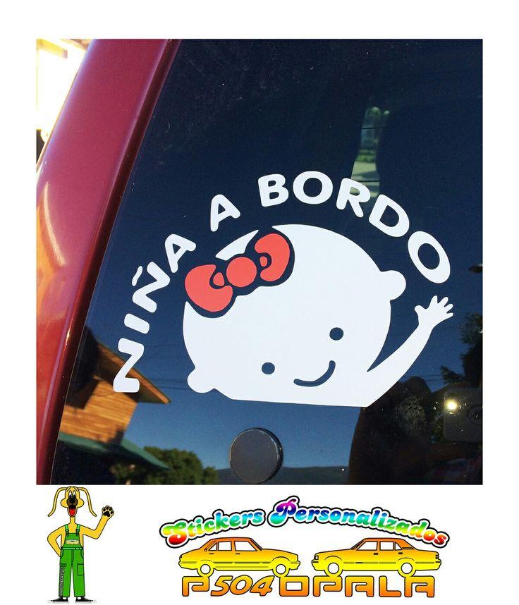 """Sticker """"Niña a bordo"""", 02 colores"""