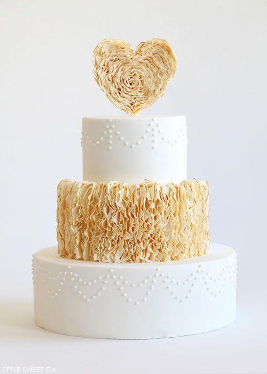 Gold Ruffle Heart Cake | by Tessa Huff of Style Sweet CA