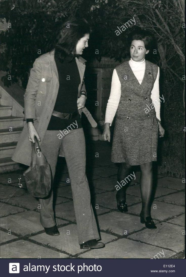 JACKIE ONASSIS WITH HER FRIEND NIKI GOULANDRIS IN ATHENS VISIT Feb. 02, 1975 - Niki Goulandris with Jackie Onassis - E112E4 from Alamy's library of millions of high resolution stock photos, illustrations and vectors.