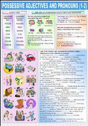 English worksheet: POSSESSIVE ADJECTIVES AND PRONOUNS (1-2)