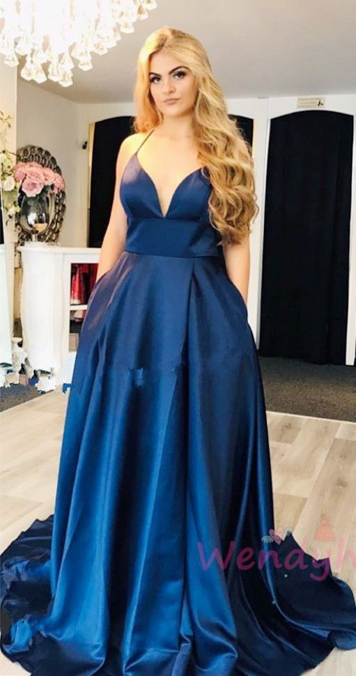 Navy Blue Sexy Long Prom Dress with Pockets