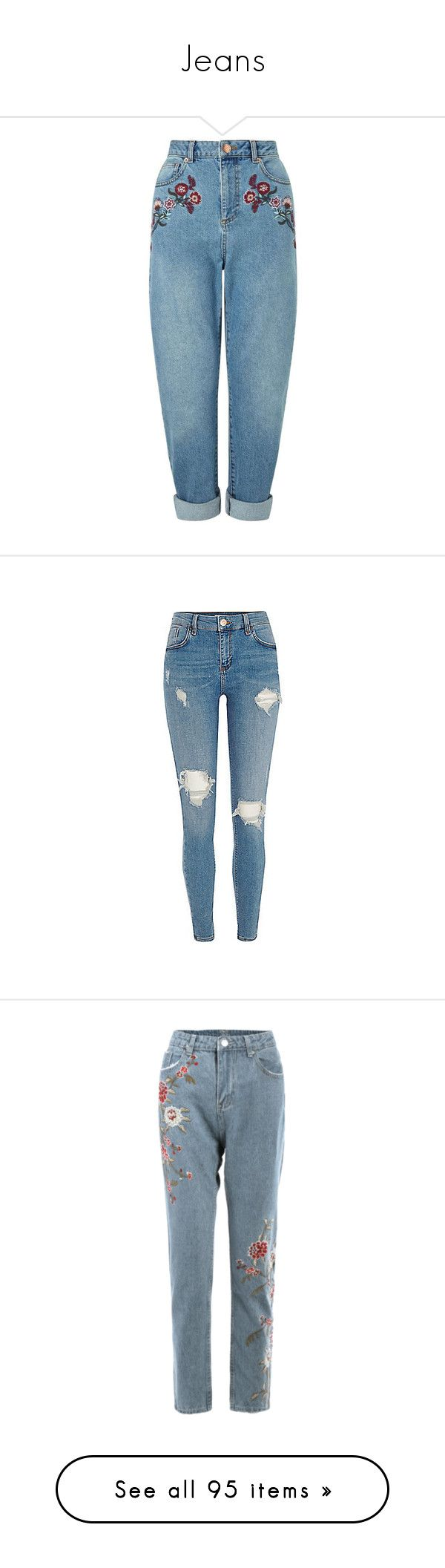 """Jeans"" by ekaterina-stepura on Polyvore featuring jeans, pants, bottoms, pantalones, blue, blue jeans, embroidery jeans, miss selfridge, embroidered jeans и miss selfridge jeans"