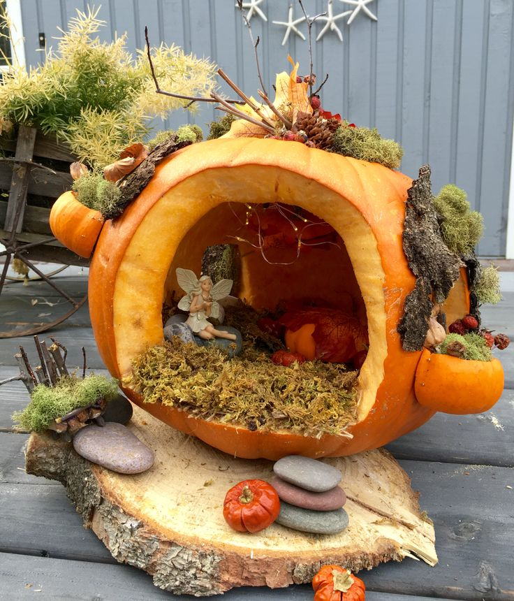 Pumpkin fairy house. Created by C. Westover
