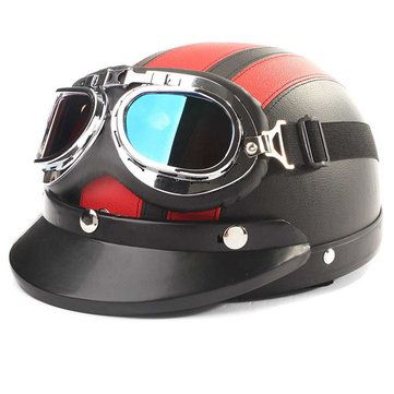 Motorcycle Half Open Face Leather Helmet With Sun Visor Goggles Sale - Banggood.com