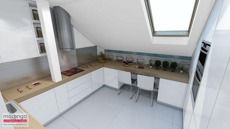 wizualizacja kuchni w mieszkaniu w Bochni, więcej na http://marengo-architektura.pl/portfolio/poddasze-w-bochni/