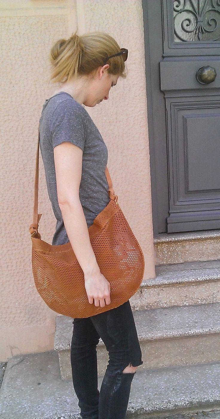 Boho shoulder tote bag, leather, handmade