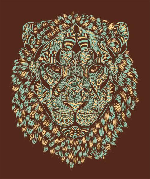Illustration art face design patterns animal radarplz portrait blue nature lion pattern brown wild fierce royal arts artists on tumblr normanduenas normanduenasart