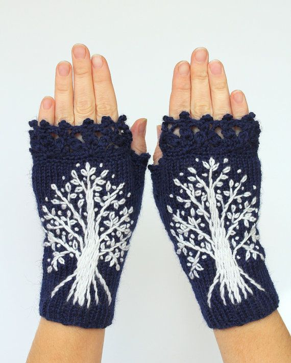 MADE TO ORDER in 4-6 weeks, Hand Knitted Fingerless Gloves, Dark Blue, White Trees, Gloves & Mittens, Made to order In Your Color