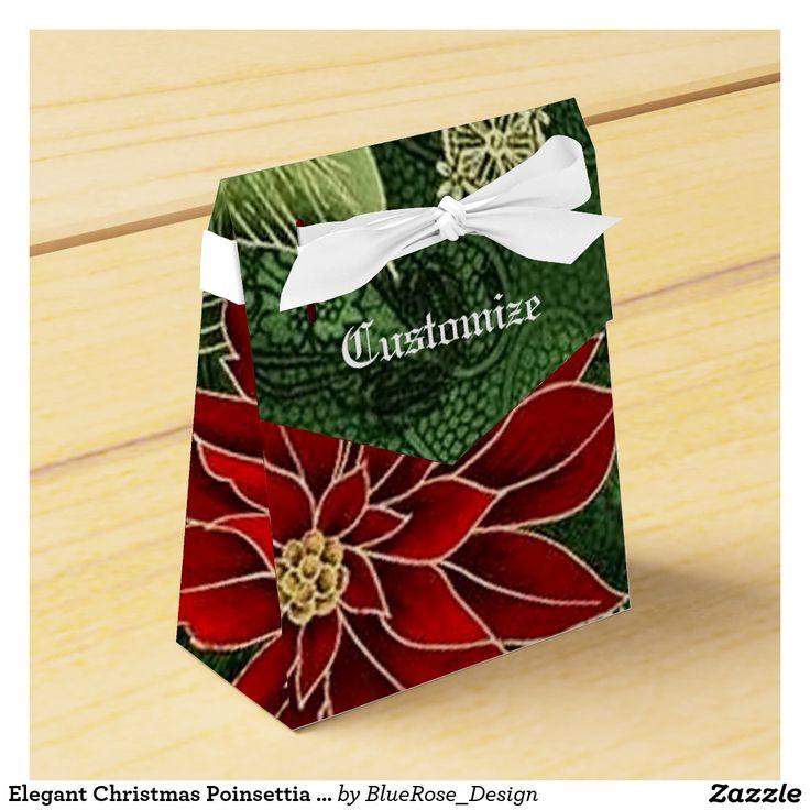Elegant Christmas Poinsettia Tent Favor Box