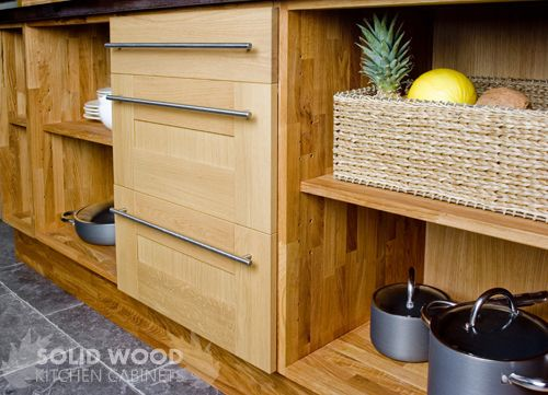 Solid Wood Kitchen Cabinets Kitchens Base Doors Oak Shaker Steel Bar Drawer Fronts Unit