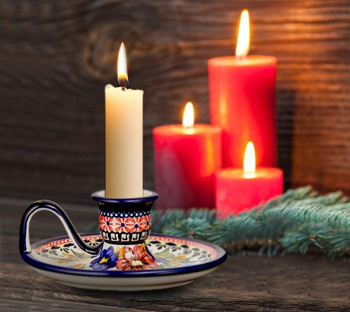 Candlestick. Artistic decoration number 149A. Hand-painted and signed by the artist.
