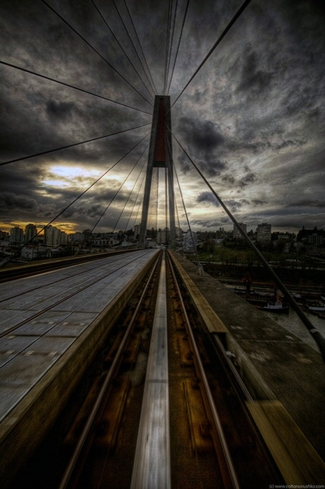 skytrain bridge going from surrey to new westminster over the frasier river, vancouver, british columbia