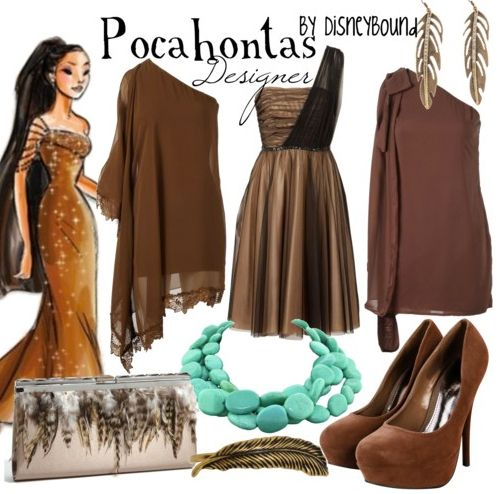 Pocahantos inspired outfits. LOVE the middle dress!