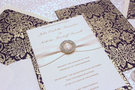 Wedding Invitation Purple and Gold by AlexandriaLindo on Etsy, $10.50 gold foil damask elegant luxury indian middle eastern