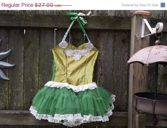 35% Off Girls Costume - Ballet Costume - 80s Costume - Green Satin and Lace Ballet Costume by Curtain Call Costume