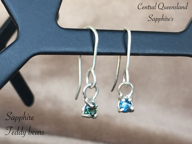 Genuine central Queensland sapphires Sterling silver teddys