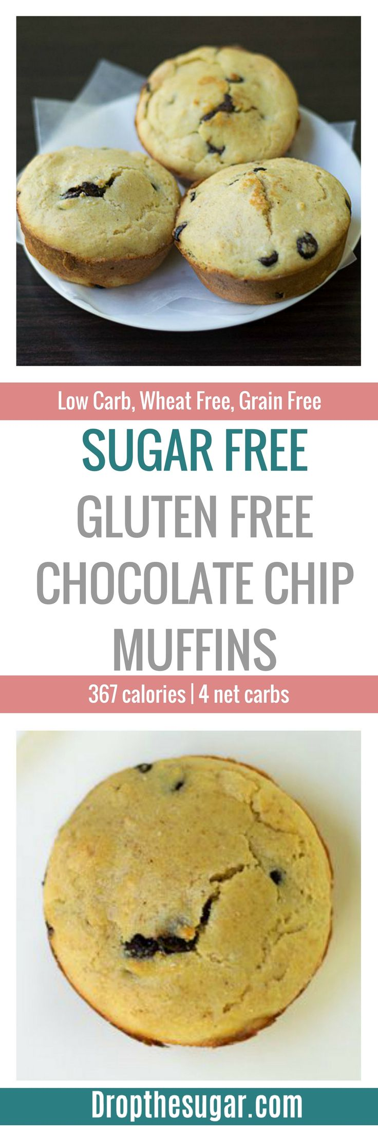 Sugar Free Gluten Free Chocolate Chip Muffins | an easy low carb muffins with almond flour and sugar free chocolate chips. Tastes just like store bought muffins! Pin now to make later!