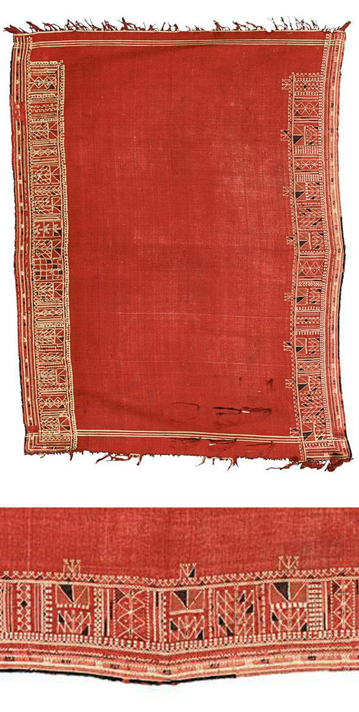 Africa | Shawl from Tunisia | Wool and cotton; with geometric border, woven in white on a red background