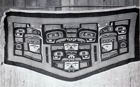 """The """"missing"""" Mary Ebbetts chilkat. Made for her daughter Annie Hunt. Rumour is that it made its way to Honolulu.... If anyone sees it, please let me know :) It'd be nice to know where it ended up. FYI, this is the chilkat that the masked dancer is wearing backwards in the well-known ES Curtis photograph. (Photograph from Susan C. Douglass thesis, Kwakiutl Chilkat Blanket, 1972)"""