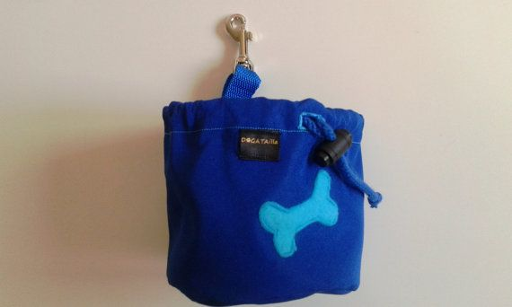 Royal blue dog treat pouch with a bone motif by DoGATAilla on Etsy