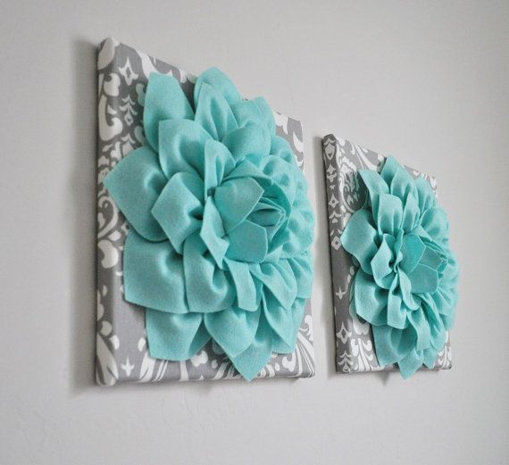 Home Decor Wall Art Aqua and Gray Flower Damask Wall by bedbuggs