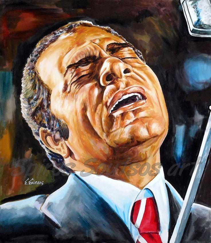"""Στέλιος Καζαντζίδης """"Υπάρχω"""" πορτραίτο αφίσα, αυθεντικός πίνακας ζωγραφικής"""