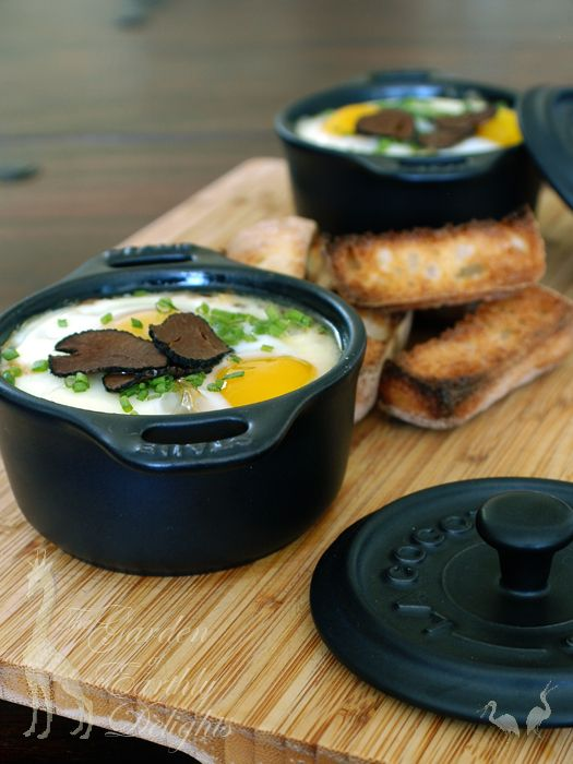 Truffled Eggs en Cocotte with Mushrooms and Pate de Foie