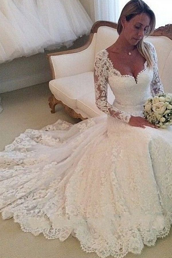 Elegant Long Sleeves Appliques Lace Wedding Dresses Chapel Bridal Gown TN0054
