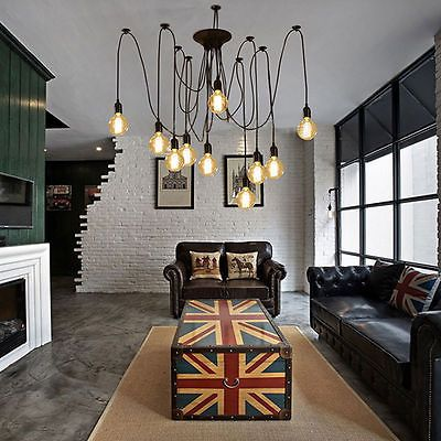 8 Heads Vintage Industrial Ceiling Lamp Edison Light Chandelier Pendant Lighting
