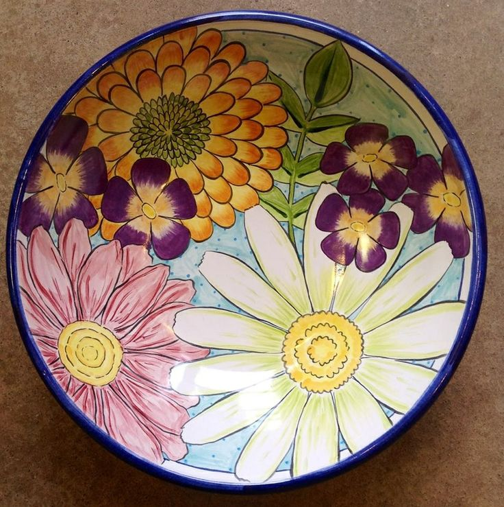 Damariscotta pottery large serving bowl painted by Max