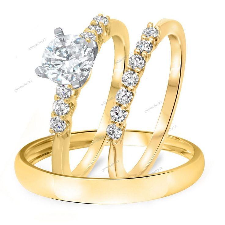 3/8 T.C.W. Round Diamond Trio Wedding Matching Ring Set 14K Yellow Gold Plated #Giftjewelry22