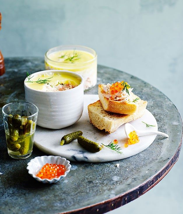 Potted trout with toasted baguette recipe :: Gourmet Traveller