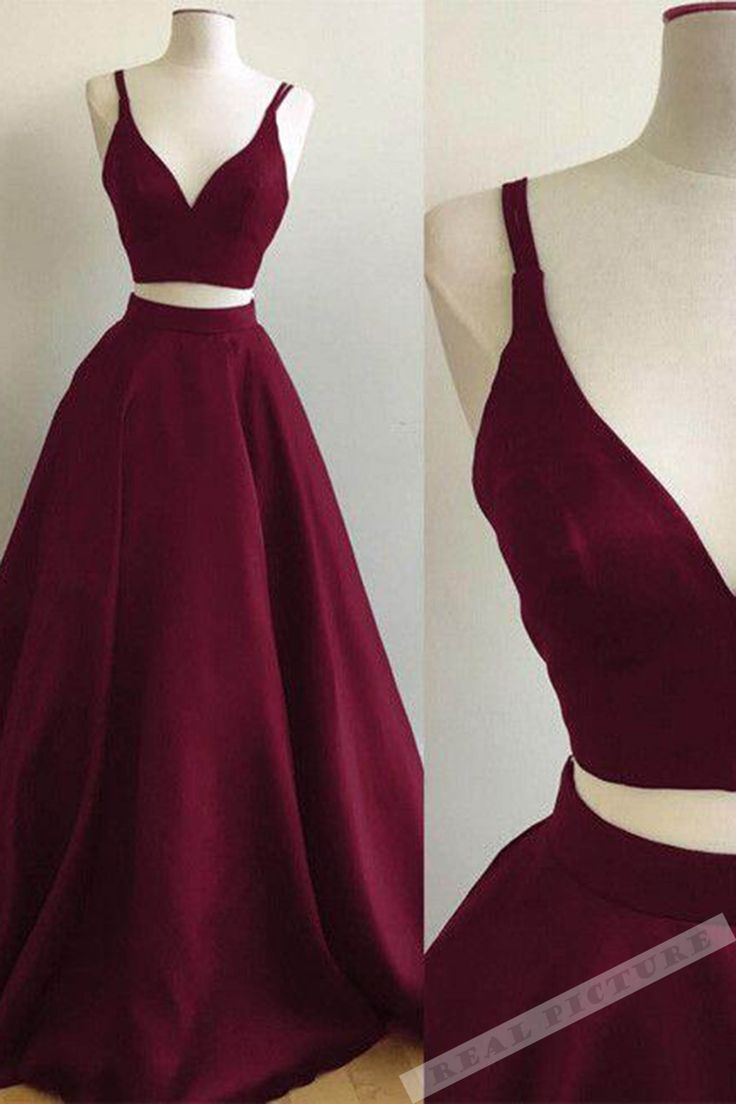 Burgundy satin prom dress, ball gown,cute tow piece dress for prom 2017