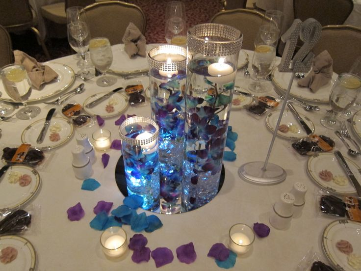 17 best images about elegant purple and teal wedding on - Purple and teal centerpieces ...